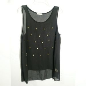 ISSI Gold Studded Hi Low Sheer Tank Top